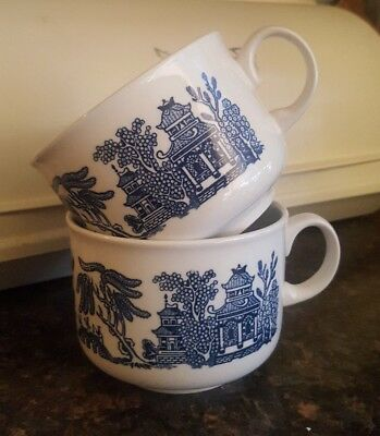 2 Churchill Blue Willow Soup Mugs or Breakfast Cups 10cm England