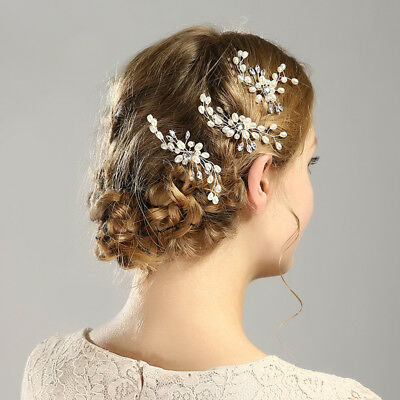 Wedding Bridal U-shaped Crystal Pearl Hair Pins Clip Side Combs Hair Accessories