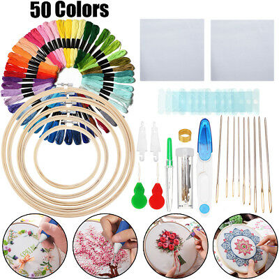 AU Magic DIY Embroidery Circle Needle Knitting Stitch Sewing Kit w/50/100 Thread