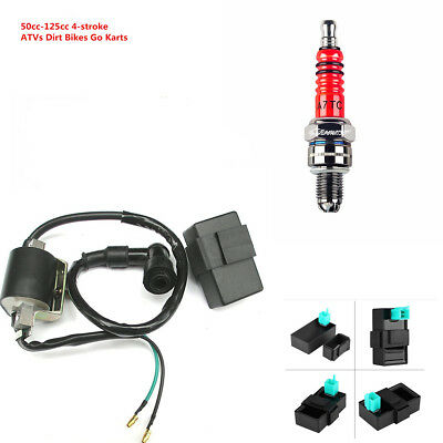 12V Ignition Coil+5 pin CDI+Spark Plug Set For Chinese ATV Quad 50 70 90 125 cc