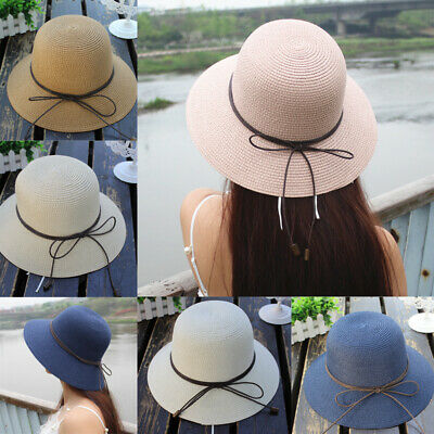 d78f2860edbdd Foldable Women Sun Straw Hat Wide Large Brim Floppy Derby Summer Beach Cap  Lot