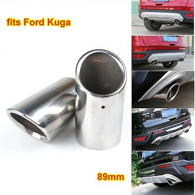 for Ford Kuga 2013-14 Silver Stainless Steel Exhaust Tail Rear Muffler Tips Pipe