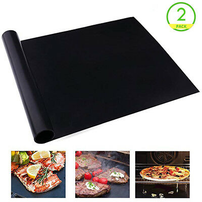 2Pcs BBQ Grill Mat/Sheet Resistant Reusable Non-Stick Barbecue Baking Bake Meat