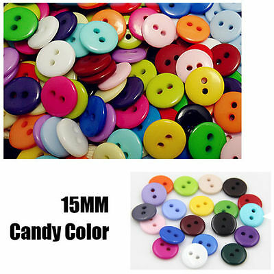 Wholesale 200Pcs Plastic Sewing Buttons Scrapbook 15mm 2 Holes For Craft DIY