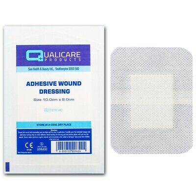 100 ADHESIVE WOUND DRESSINGS 10x8cm Large Bandage Sterile Cut Graze Heal Plaster
