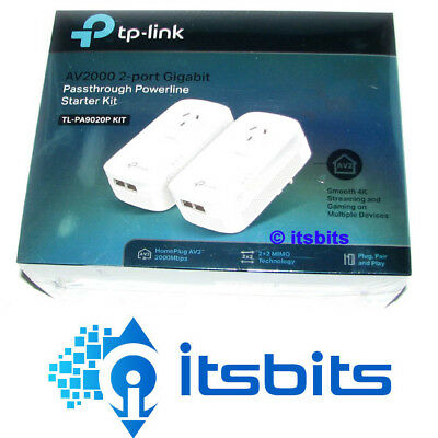 Tp-Link Tl-Pa9020P Av2000 2 Port Gigabit Passthrough Powerline Starter Kit