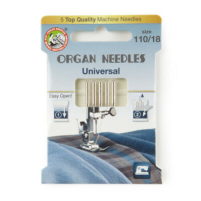 Organ Universal Domestic Sewing Machine Needles size 110 (130R-110-ECO5OR)