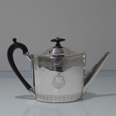 18th Century Antique George III Sterling Silver Oval Teapot London 1797 Chawner