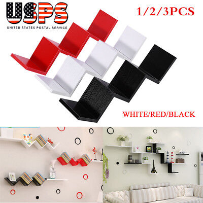 1/2/3PCS W Stairs Shape Floating Shelf Wall Mounted Home Decor Furniture DIY
