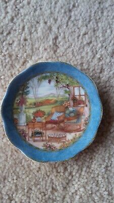 """Small 3"""" Fine English Bone China Detailed Pattern Plate with Blue Trim"""
