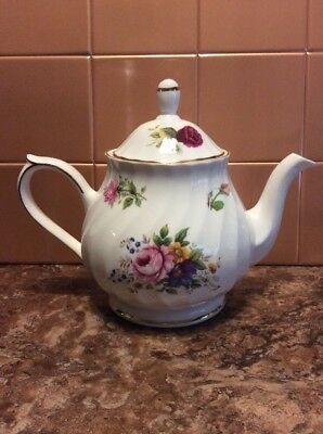 Staffordshire Royal Victorian Floral Rose Coffee Pot/Teapot Fine Bone China