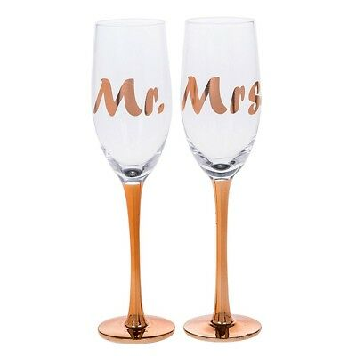 Rose Gold Mrs & Mrs Prosecco Champagne Flutes Wedding Day Gift