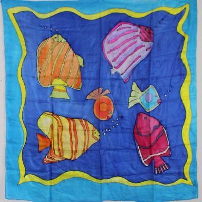 """Novelty Painted Tropical Fish 1980S Vintage Blue Silk Chiffon 35"""" Square Scarf"""