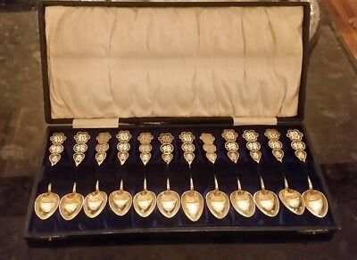 antique solid silver chinese spoon set - cased
