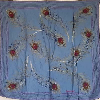 """Divine Peacock Feather Print 1980S Vintage Blue Large Silk 33"""" Square Scarf"""