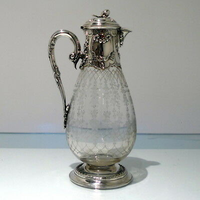19th Century Antique Victorian Sterling Silver Claret Jug London 1867 S Whitford