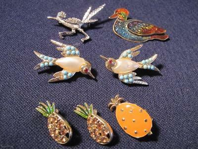 7 pc Figural BIRD Lucky PINEAPPLE Retro - Now COSTUME JEWELRY LOT pins ESTATE