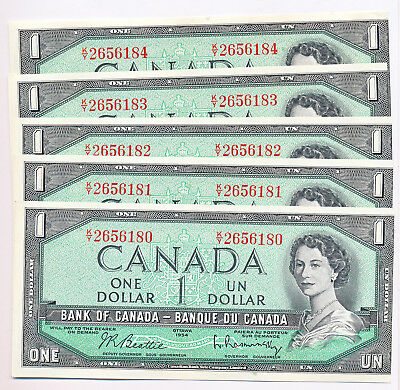 Bank Of Canada 5 In A Row 1 Dollar 1954 Ky2656180-84 - Miscut Error