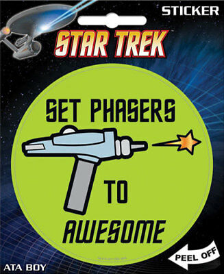 STAR TREK Set Phasers to Awesome 4-inch Adesivo