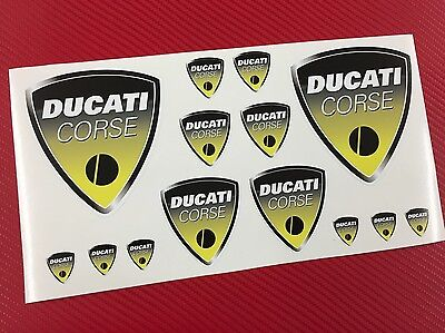 Set 14 Stickers DUCATI Corse Old Yellow