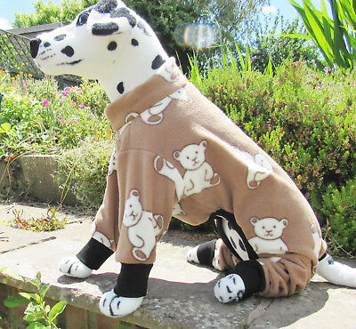 Fleece Onsie Dog Coat/jacket/Pyjamas/PJ's. Elasticated. Brown/Cream Teddy bear