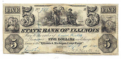 1840 State Bank of Illinois, Lockport - Five Dollar Obsolete Note No.785