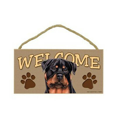 Rottweiler Wood Welcome Dog Door Wall Sign 5x10 Made in USA