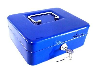 NEW Strong Blue Metal MONEY/CASH/COIN Box Savings 8 Inches with 2 Keys Blue