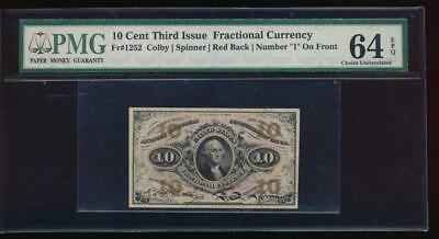 AC Fr 1252 $0.10 1864 fractional 3rd issue PMG 64 EPQ red reverse '1' on front