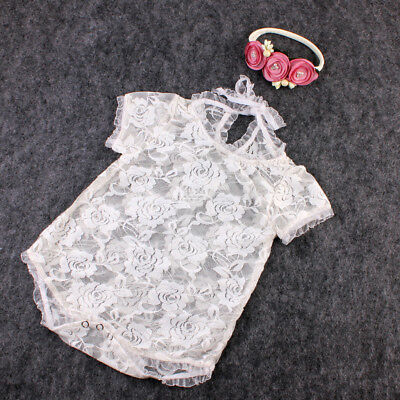 Newborn Baby Girl Lace Romper Bodysuit Photo Props Photography Costumes