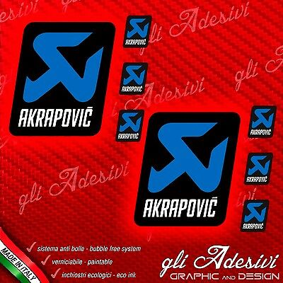 2 Stickers AKRAPOVIC BLUE Team resistant heat + 4 small