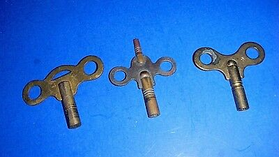 Lot of Vintage Brass Clock Keys - #9 or 6 & two unmarked