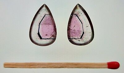 Pair of natural Watermelon Tourmaline slices - Faceted and polished