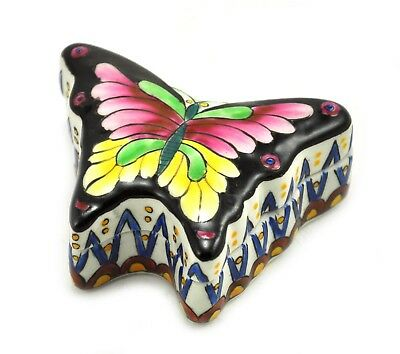 "3"" Vintage Chinese Trinket Box Porcelain Jewelry Hand painted Handmade Butterfly"