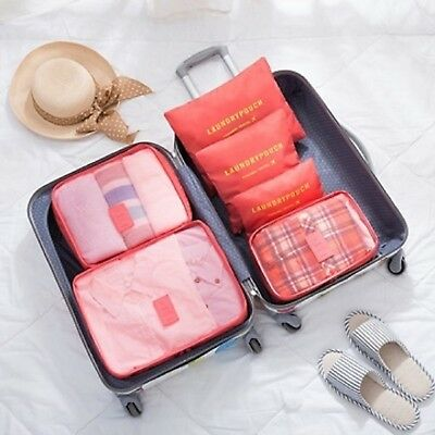 1Set 6in1 Watermelon Red Zipper Waterproof Luggage Travel Bags Packing Organizer