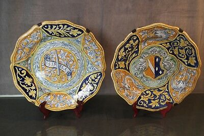 Great pair of dish earthenware Nevers Malicorne coat arms crest