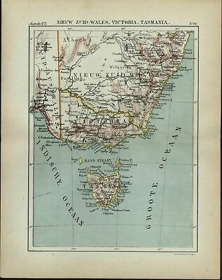 New South Wales Victoria Tasmania Australia 1882 charming small Dutch old map
