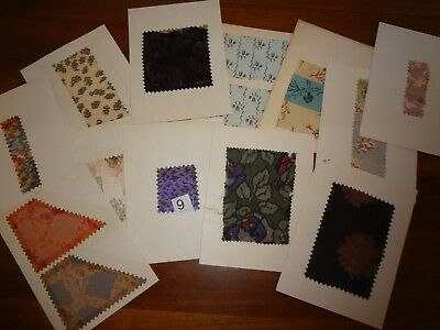 Antique Vintage fabric lot 12 carded swatch samples Silk 1900 - 1910 1920 French