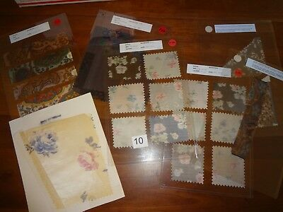 Antique Vintage fabric lot 7 swatch samples Silk 1890 - 1910 1920 under plastic