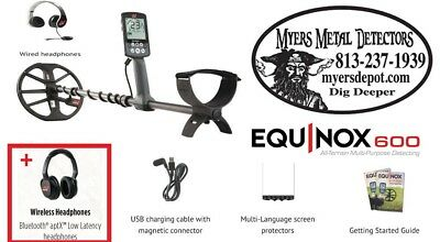 "Minelab EQUINOX 600 Metal Detector + Wireless HdPhones with EQX 11""DD Smart Coil"