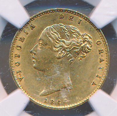 GREAT BRITAIN VICTORIA GOLD 1/2 Sovereign 1866 NGC AU58