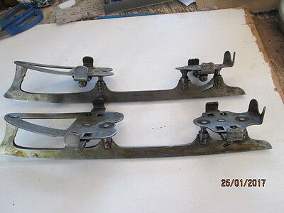 "Pair Of Vintage Clip-On Ice Skates Size 12? By Eduard Engles 14"" Long Good Used"