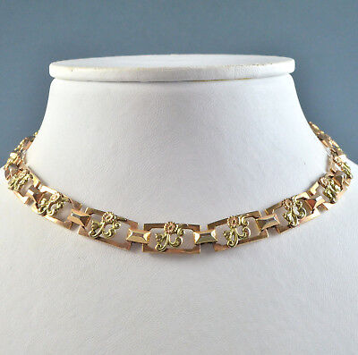 Vintage Collar Necklace 1930s Art Deco Gold Plated Flowers Bridal Jewellery