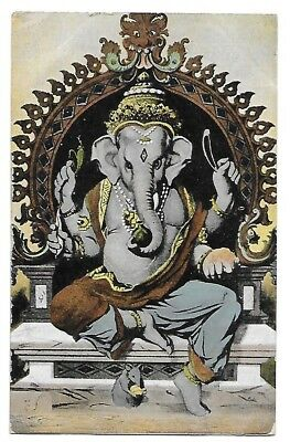 GANAPATI Diety of Wisdom & Remover of Difficulties Early INDIA Postcard Elephant