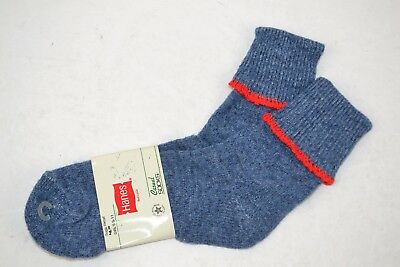 Vintage 1980's HANES Women's Thick Soft ORLON Cuffed Socks Blue/Red 9-11 NOS