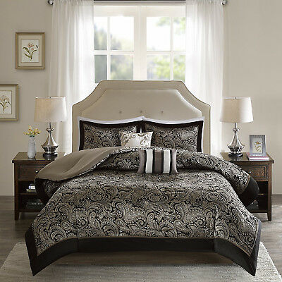 Luxurious Black Gold Silky Jacquard Paisley 5 pcs Cal King Queen Comforter Set