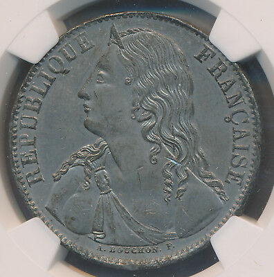 FRANCE ESSAIE 5 FRANCS MAZ-1270B White Metal NGC MS62