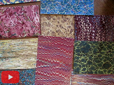 Marbled paper lot 20 lovely sheets c.1830-1890's European American assortment