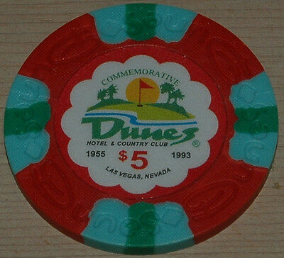 DUNES Casino $5 Commemorative Chip, Las Vegas, NV. Uncirculated. Obsoleted