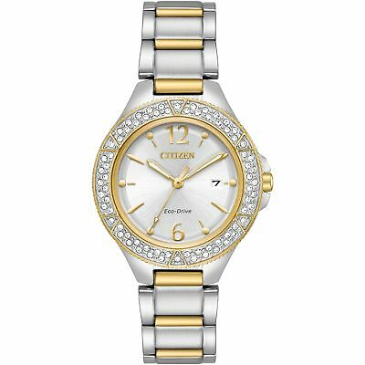 Citizen Eco-drive Ladies Silhouette Crystal Bezel Two Tone Watch FE1164-53A